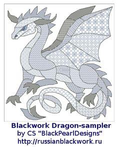 blackwork patterns | Russian Blackwork: Blackwork Dragons-2012