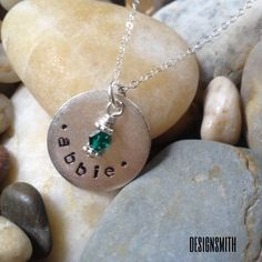 "Hand stamped smooth 3/4 in ""name"" necklace. With drop bead of choice. $35. Visit rdesignsmith.com for more option."