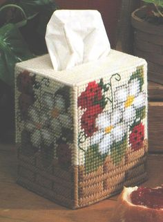 Plastic Canvas STRAWBERRY DELIGHTS Set - 1 Pattern - Boutique Tissue Box Cover