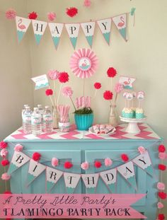 flamingo+party+ideas | Party Pack - Pool or Beach Party Digital files - Party Supplies ...