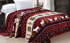 The Christmas Reindeer bedding blanket is a great collection during the winter time festivity or for someone who enjoys the holidays year round. These blankets also give a very warm cabin like home decor feeling. Striped pattern with white reindeer and snow flakes. #Christmas