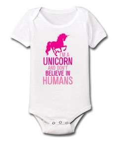 This White & Fuchsia 'I'm a Unicorn' Bodysuit - Infant is perfect! #zulilyfinds