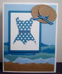 Adorable bathing suit made from Stampin' Up!'s Dress Up framelit! / nancyferbshares.typepad.com