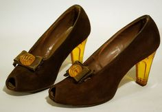 1940s Lucite and brown suede pumps. $165.00. HOLY MOLY THESE ARE AWESOME!