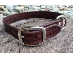 Items similar to Hand-stitched leather dog collar / handmade leather collar on Etsy Stitching Leather, Hand Stitching, Leather Dog Collars, Dog Harness, Handmade Leather, Fur Babies, Chokers, Bear, Crafty