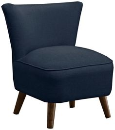 Annabelle Mid-Century Modern Navy Linen Chair | LampsPlus.com - For basement