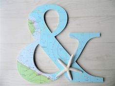 Large Wooden Ampersand with Nautical Chart and Natural Nautical Chart, Wedding Favors, Wedding Decorations, Starfish, Accent Decor, Ipad Stand, Deck Chairs, Blue Green, Coastal