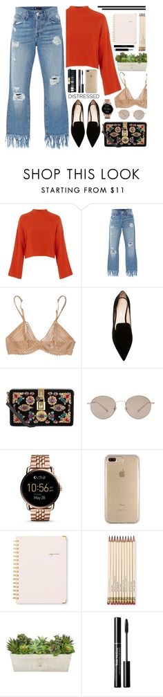 """""""True Blue: Distressed Denim"""" by saramsilva ❤ liked on Polyvore featuring Topshop, 3x1, La Perla, Nicholas Kirkwood, Dolce&Gabbana, Gucci, FOSSIL, Speck, Sugar Paper and Kate Spade"""