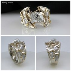 Our client wanted to reset her diamonds into a modern, two tone, every day ring. She said she was ready for a wide and very contemporary ring. Our Master Jeweler created this stunning piece just for her! The diamonds are set into 14kt white gold and accented with 18kt yellow gold. Truly unique and beautiful with signature McNulty Jewelers'  touches!