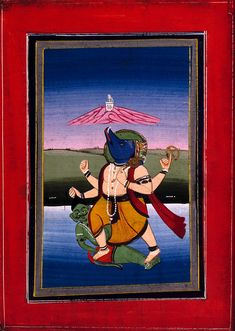 Varāha raising the earth from the bottom of the ocean and trampling on the demon Hiranyāksha. Gouache drawing. | Wellcome Collection Bottom Of The Ocean, Wellcome Collection, Free Museums, Spiritual Life, Gouache, Raising, Spirituality, Earth