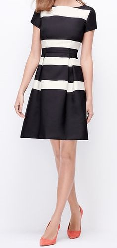 a32946e0235 Love the Ann Taylor striped flare dress paired with Michael Kors  ankle-strap sandals.