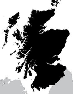 A highly detailed outline map of Scotland with hundreds of islands. Vector paths let you easily edit colour and scale. Suited to commercial projects.