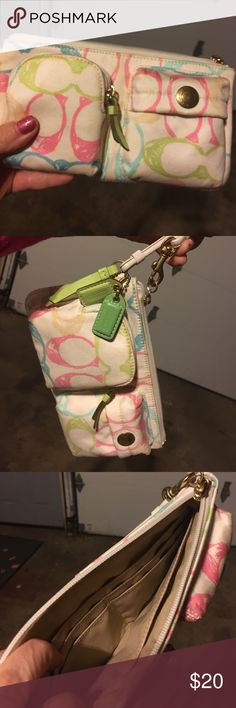 Coach wristlet Cute coach wristlet, rarely used! Great for attending concerts or other events when you don't feel like carrying a purse! Coach Bags Clutches & Wristlets