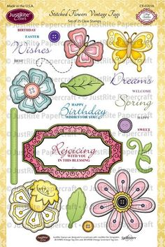 JustRite Clear Stamp - Stitched Flowers Vintage Tags, The Stamp Simply Ribbon Store