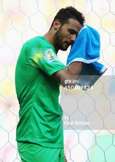 Orestis Karnezis drying off during a game of the fifa World Cup 2014 World Cup 2014, Fifa World Cup, Polo Shirt, T Shirt, Mens Tops, Game, Fashion, Supreme T Shirt, Moda
