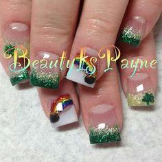 St. Patrick's day nails. CREDIT: Beauty Is Payne on Facebook Holiday Nail Designs, Holiday Nail Art, Colorful Nail Designs, Cute Nail Designs, Acrylic Nail Designs, Cute Nails, Pretty Nails, Hair And Nails, My Nails