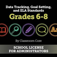 For Administrators: This bundle contains all the ELA Data Tracking and Goal Setting as well as Learning Target Posters and ELA Standards charts for grades 6, 7, and 8. This is a school license to use at your site for up to 30 teachers. These bundles will provide your teachers with professional looking learning target posters as well as step-by-step guides for goal setting based on Marzano's SMART goal process. More details at Classroom Core's store!