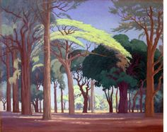 Artist: Jacobus Hendrik Pierneef (South African, 1886 - painted landscape to the virtual exclusion of everything else. He developed a very distinctive style; Landscape Art, Landscape Paintings, Landscape Prints, Abstract Paintings, South African Artists, Pastel, Tree Art, Art Images, Bing Images