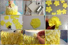 Here is a mini tutorial on how to make these petal ruffles on a cake... Tutorial by: @Bloom Cake Co. https://www.facebook.com/pages/Bloom-Cake-Co/148941125137038?ref=stream_location=timeline