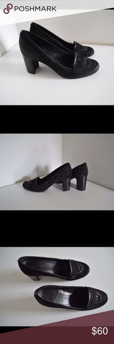 """Jack Rogers pumps Jack Rogers classic black pumps Suede upper. Black. Whipstitched leather  navajo design. Man made soles. Size 9. Chunky heels 3"""". Very little wear to soles (pic). In excellent condition! Jack Rogers Shoes Heels"""
