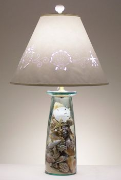 Make a Lamp from a Vase or Jar to Fill with Treasures Shop Fillable Lamps or make a DIY fillable lamp from a vase or jar. The great thing about this DIY Vase Lamp is the wide opening wh. Seashell Crafts, Beach Crafts, Diy Crafts, Coastal Style, Coastal Decor, Chandelier Light Shade, Light Shades, Fillable Lamp, Shell Lamp