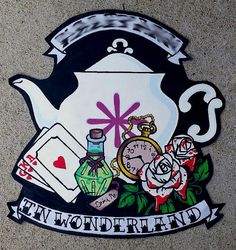This was a custom designed Alice in Wonderland themed back patch for a customer, and now this design can be yours, too! The banner read  CUSTOMERS NAME In wonderland but it could say anything you want! Were all mad here or any thing else you would like! This design features a teapot, pocket watch, deck of cards, Drink me bottle, and red-painted white roses. If you are interested in a different color or design, please message me and we can design something perfect just for you!   Please…