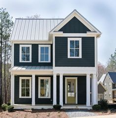 Exterior paint colors blue cream colored exterior houses navy house exterior on cedar shake - Exterior house colors blue . Exterior Color Schemes, Exterior Paint Colors For House, Paint Colors For Home, Exterior Design, Paint Colours, Exterior Siding, Exterior Windows, Siding Colors, Wall Exterior