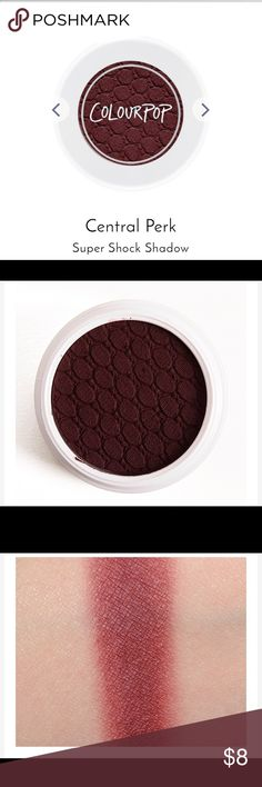 Colourpop Central Perk Eye Shadow Throw on this deep warm Matte burgundy before meeting your friend, Princess Consuela Bananahammock, at your favorite coffee joint. ... Super Shock Shadow Our famous long-wearing crème powder formula with a unique bouncy-like texture. ... For Max Coverage - Use your fingertip and tap ... Colourpop Makeup Eyeshadow