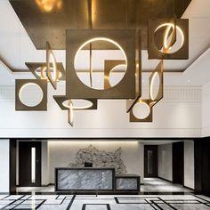 the interior design project you need to see. Playing their cards right, this modern home interior has conquered our hearts and at Lobby Interior, Interior Lighting, Lighting Design, Lighting Ideas, Hotel Lobby Design, Deco Luminaire, Luminaire Design, Hotel Reception, Reception Design