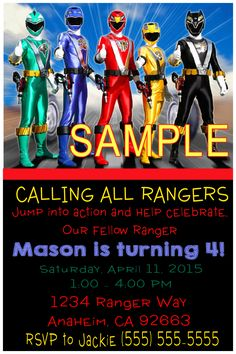 Power Rangers Birthday Invitation - Please click on invite to place orders or to follow me of Facebook