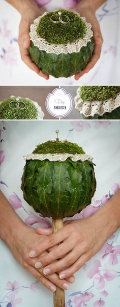 DIY: A ring pillow in vintage nature style- DIY: Ein Ringkissen im Vintage-Natur-Style The wedding rings presented differently – a nice idea for the how cute is that? perfect for a rustic wedding - Wedding Beauty, Diy Wedding, Rustic Wedding, Wedding Rings, Ring Bearer Pillows, Ring Pillows, Deco Floral, Floral Design, Wedding Bouquets