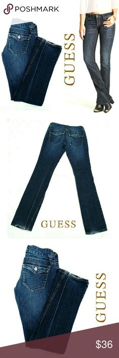 """GUESS SUPER LOW RISE DOHENY STRETCH BOOTCUT JEANS GUESS SUPER LOW RISE DOHENY STRETCH BOOTCUT JEANS  Pre-Loved  / EUC / Image for Similarity  Size 24 *   5 Pocket Jean's w/Back & Front Coin Button Flap *   Belt Loops & Front Fly *   Silver Tone Hardware *   Medium Wash w/ Some Fading / Hem Fraying *   99% Cotton  1% Spandex Approx Meas;    *   Waist   13""""    *   Inseam   32""""    *   Rise   6""""    *   Leg Opening 8"""" Pls See All Photos. Ask ? If Not Sure Guess Jeans Boot Cut"""