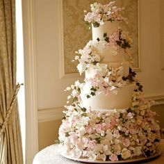 striking flowers...make sure your cake maker can make the flowers not everyone can make them look so good.