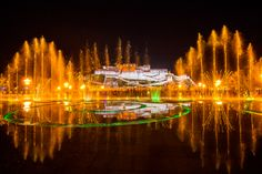 Beautiful eruptive fountain on the square in front of Potala Palace in Lhasa
