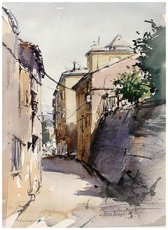 Legendary sketches and drawings of famous architects are here to inspire towards your own easy cool things to draw; Watercolor City, Watercolor Sketch, Watercolor Landscape, Watercolor Paintings, Watercolors, Urban Landscape, Landscape Art, Landscape Paintings, Watercolor Architecture