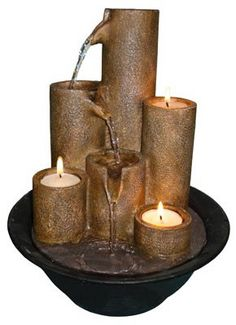 Indoor fountains  - Pin it :-) Follow us, CLICK IMAGE TWICE for Pricing and Info . SEE A LARGER SELECTION of indoor fountains at http://azgiftideas.com/product-category/indoor-fountain/  - gift ideas , home decor   -    Tabletop Fountain with Three Candles