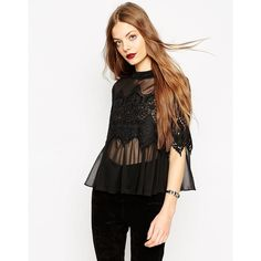 ASOS Lace Panel Top With High Neck In Knitted Chiffon ($63) ❤ liked on Polyvore featuring tops, black, black top, crop top, chiffon top, black crop top and asos tops
