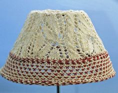 Bespoke coolie shade, lace & cable, deep 2 colour chequered rim,  pendant, hand knitted, 100% cotton fabric, wool available,  any colour.