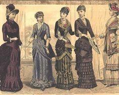 taffeta, silk, ruffles, pleats, draping, and darker tones