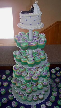 200 Wedding cupcakes....Purple and Green...