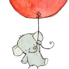 Children's Art Flying High Elephant Navy Blue by trafalgarssquare Cartoon Elephant, Baby Elephant, Elephant Balloon, Flying Elephant, Cross Stitch Pattern Maker, Cross Stitch Patterns, Red Balloon, Balloons, Cute Drawings