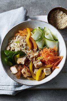 A fresh and bright bowl made with leftover turkey or chicken and gochujang, a Korean hot pepper paste. Use fresh veggies for a pick me up and delicious brown rice to keep you full. Summer Recipes, Fall Recipes, Asian Recipes, Ethnic Recipes, Bbc Good Food Recipes, Yummy Food, Turkey Bowl, Pepper Paste, Leftover Turkey Recipes