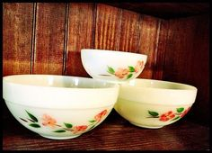Fire King Peach Blossom Bowls by OurVintageKitchen on Etsy - I may have to collect these along side the peach lustre