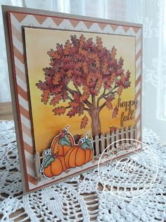 """High Hopes Stamps: Happy Fall by Alie using """"Fall Tree"""" & """"Chubby Pumpkin"""""""