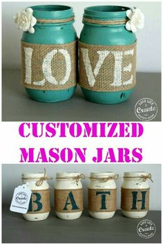 Customized Mason Jars- DIY Home Decor! – Kim D'Ewart Letourneau Customized Mason Jars- DIY Home Decor! So many great ideas for customizing mason jars for just about anything! Mason Jar Projects, Mason Jar Crafts, Bottle Crafts, Burlap Mason Jars, Fall Mason Jars, Christmas Mason Jars, Mason Jar Candles, Christmas Decor, Crafts To Sell