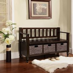 Entry way ideas padded bench...baskets underneath for purses, scarves, etc. mirror above with welcoming photos, verses