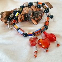 Orange Cane Glass Necklace: modern cane glass beaded necklace with 3 lampwork glass dangles & orange Boho beads. Free Shipping USA…