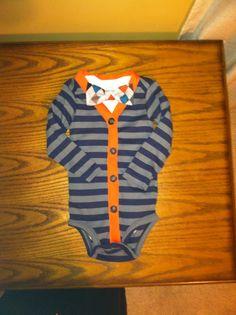 Baby Boy's Bowtie and Cardigan Onesie, Boy's Cake Smash Outfit, Baby Boy's Wedding Outfit, Baby Shower gift, Navy and Orange. $32.00, via Etsy.