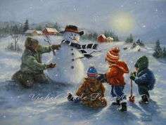 Snow man and Four Boys Original Oil Painting door VickieWadeFineArt, $235.00