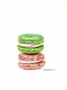 Laduree Macarons 6  ORIGINAL Painting Dessert от ForestArtStudio